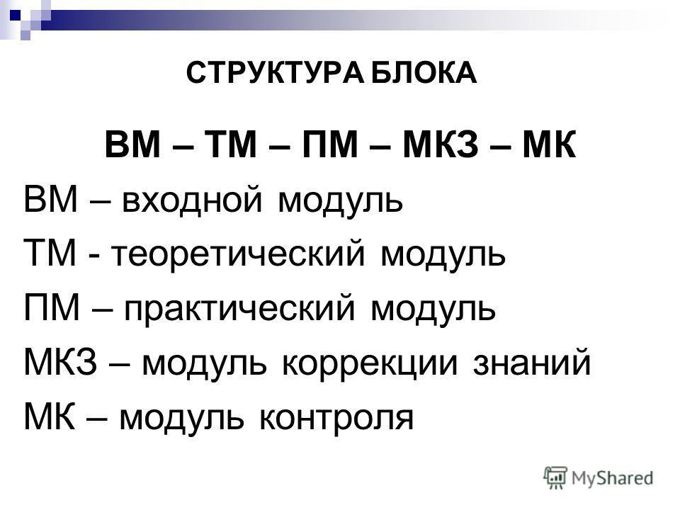 СТРУКТУРА БЛОКА ВМ – ТМ – ПМ – МКЗ – МК ВМ – входной модуль ТМ - теоретический модуль ПМ – практический модуль МКЗ – модуль коррекции знаний МК – модуль контроля