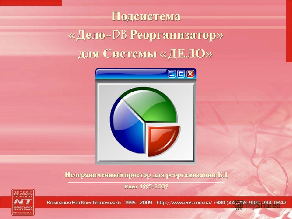 Неограниченный простор для реорганизации БД Киев 1995-2009 Подсистема «Дело-DB Реорганизатор» для Системы «ДЕЛО»