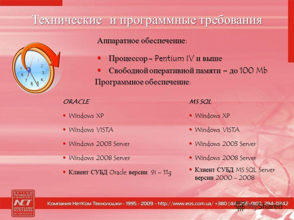 Технические и программные требования Аппаратное обеспечение: Процессор - Pentium IV и выше Процессор - Pentium IV и выше Свободной оперативной памяти – до 100 Mb Свободной оперативной памяти – до 100 Mb ORACLE Windows XP Windows XP Windows VISTA Wind