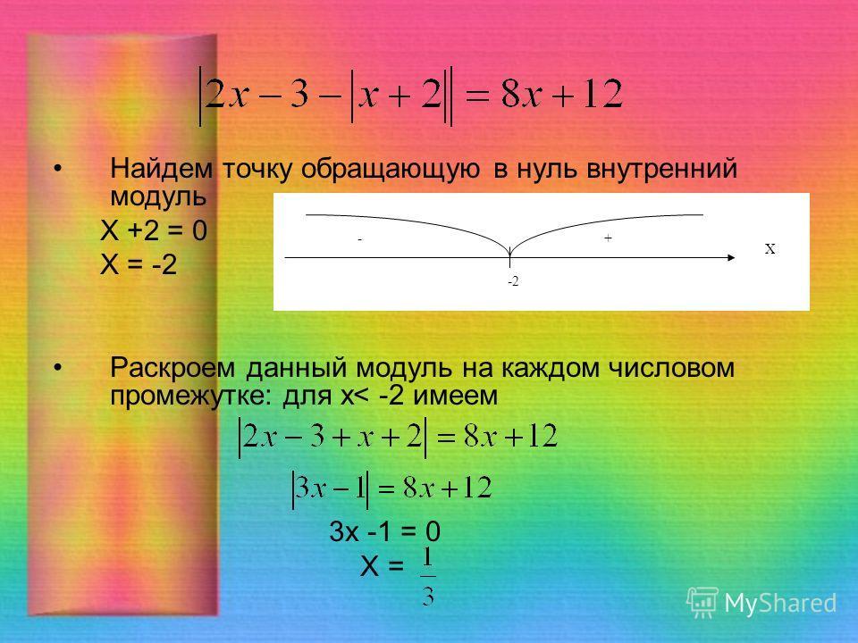 Найдем точку обращающую в нуль внутренний модуль Х +2 = 0 Х = -2 Раскроем данный модуль на каждом числовом промежутке: для x< -2 имеем 3 х -1 = 0 Х = Х -2 -+