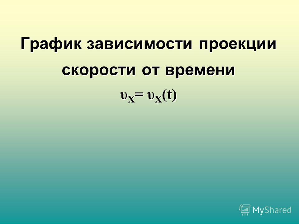 График зависимости проекции скорости от времени υ X = υ X (t)