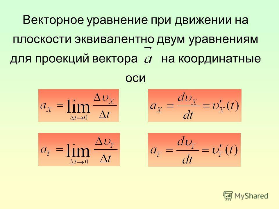 Векторное уравнение при движении на плоскости эквивалентно двум уравнениям для проекций вектора на координатные оси