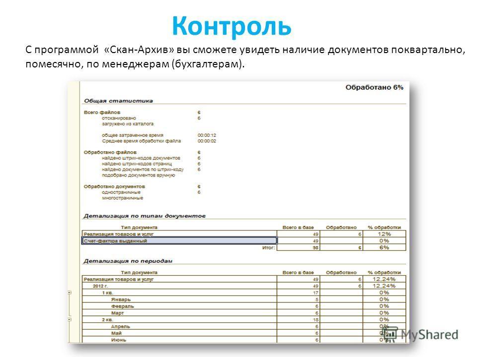 Контроль С программой «Скан-Архив» вы сможете увидеть наличие документов поквартально, помесячно, по менеджерам (бухгалтерам).