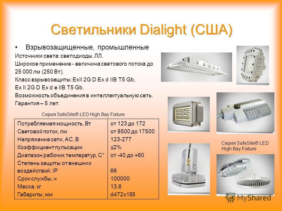 Взрывозащищенные, промышленные Источники света: светодиоды, ЛЛ. Широкое применение - величина светового потока до 25 000 лм (250 Вт). Класс взрывозащиты: ExII 2G D Ex d IIB T5 Gb, Ex II 2G D Ex d e IIB T5 Gb. Возможность объединения в интеллектуальну