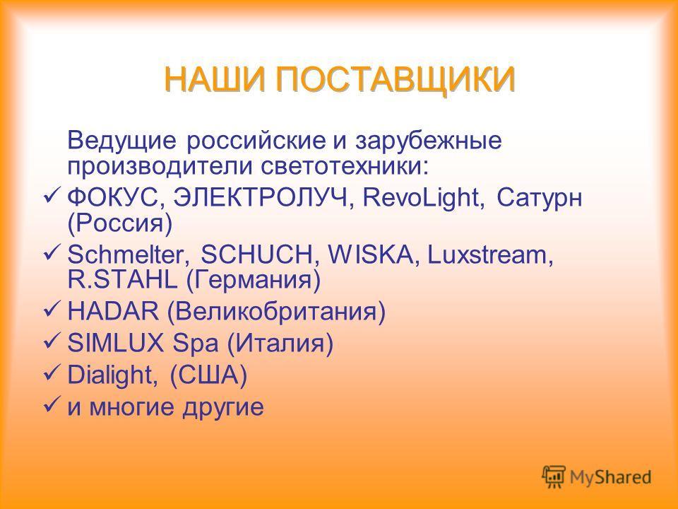 Ведущие российские и зарубежные производители светотехники: ФОКУС, ЭЛЕКТРОЛУЧ, RevoLight, Сатурн (Россия) Schmelter, SCHUCH, WISKA, Luxstream, R.STAHL (Германия) HADAR (Великобритания) SIMLUX Spa (Италия) Dialight, (США) и многие другие
