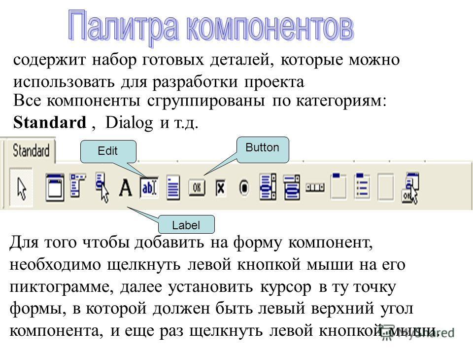 содержит набор готовых деталей, которые можно использовать для разработки проекта Все компоненты сгруппированы по категориям: Standard, Dialog и т.д. Для того чтобы добавить на форму компонент, необходимо щелкнуть левой кнопкой мыши на его пиктограмм