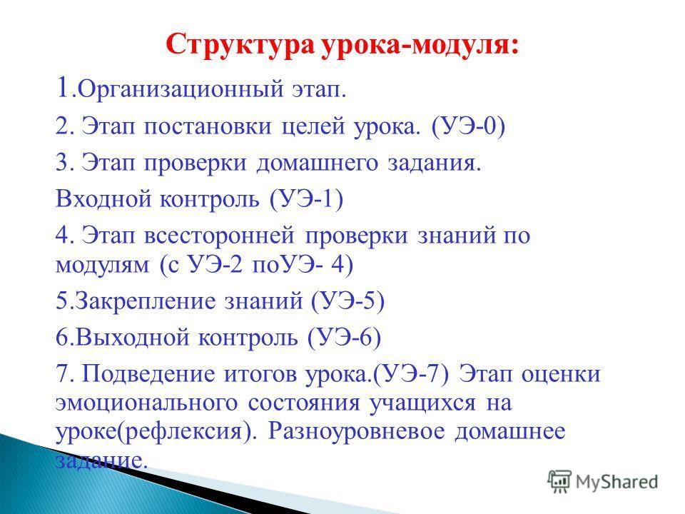 Структура урока-модуля: 1. Организационный этап. 2. Этап постановки целей урока. (УЭ-0) 3. Этап проверки домашнего задания. Входной контроль (УЭ-1) 4. Этап всесторонней проверки знаний по модулям (с УЭ-2 поУЭ- 4) 5. Закрепление знаний (УЭ-5) 6. Выход