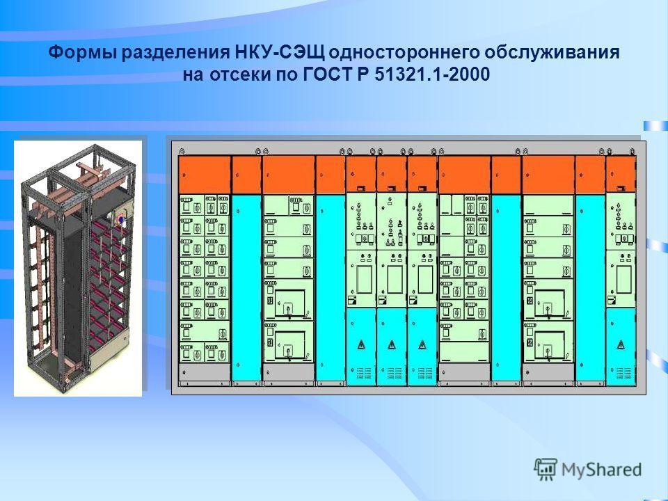 Формы разделения НКУ-СЭЩ одностороннего обслуживания на отсеки по ГОСТ Р 51321.1-2000