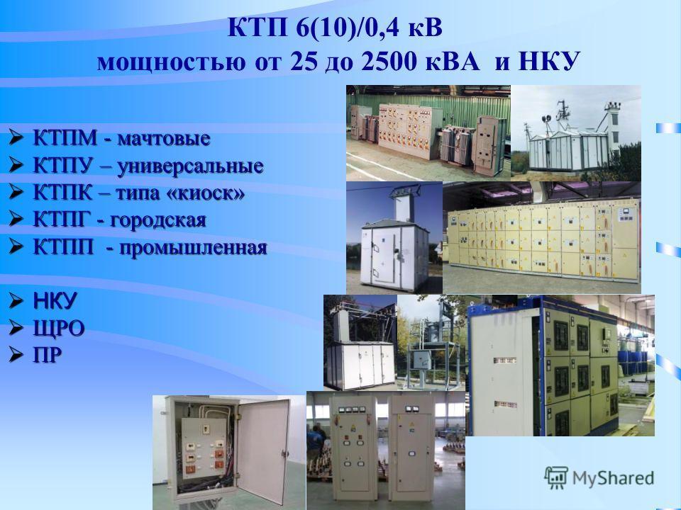 КТП 6(10)/0,4 кВ мощностью от 25 до 2500 кВА и НКУ КТПМ - мачтовые КТПМ - мачтовые КТПУ – универсальные КТПУ – универсальные КТПК – типа «киоск» КТПК – типа «киоск» КТПГ - городская КТПГ - городская КТПП - промышленная КТПП - промышленная НКУ НКУ ЩРО