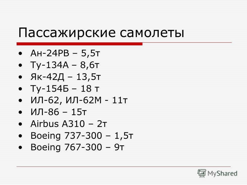 Пассажирские самолеты Ан-24РВ – 5,5 т Ту-134А – 8,6 т Як-42Д – 13,5 т Ту-154Б – 18 т ИЛ-62, ИЛ-62М - 11 т ИЛ-86 – 15 т Airbus A310 – 2 т Boeing 737-300 – 1,5 т Boeing 767-300 – 9 т
