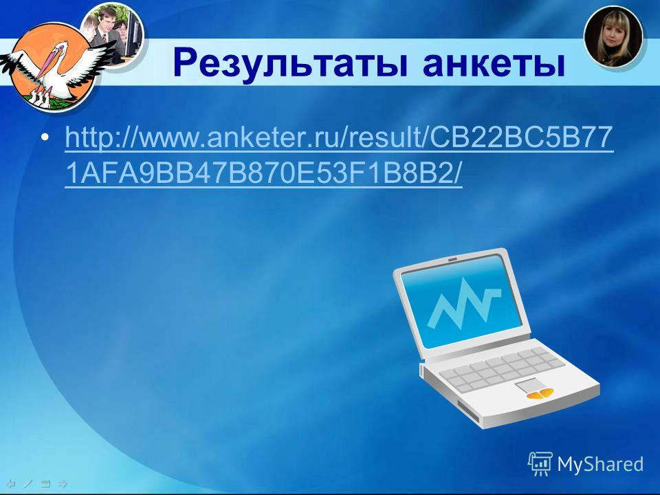 Результаты анкеты http://www.anketer.ru/result/CB22BC5B77 1AFA9BB47B870E53F1B8B2/http://www.anketer.ru/result/CB22BC5B77 1AFA9BB47B870E53F1B8B2/