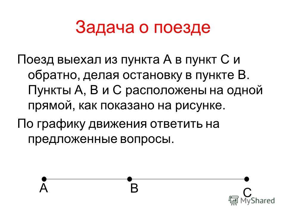 Задача о поезде Поезд выехал из пункта А в пункт C и обратно, делая остановку в пункте B. Пункты A, B и C расположены на одной прямой, как показано на рисунке. По графику движения ответить на предложенные вопросы. А B C