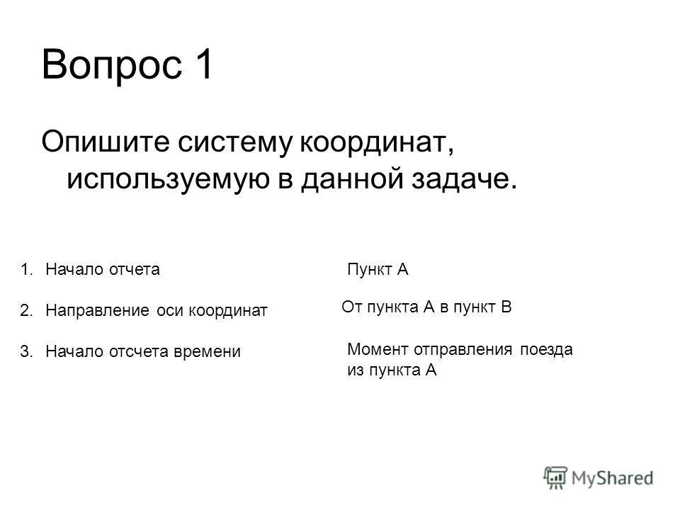 Вопрос 1 Опишите систему координат, используемую в данной задаче. 1. Начало отчета 2. Направление оси координат 3. Начало отсчета времени Пункт А От пункта А в пункт В Момент отправления поезда из пункта А