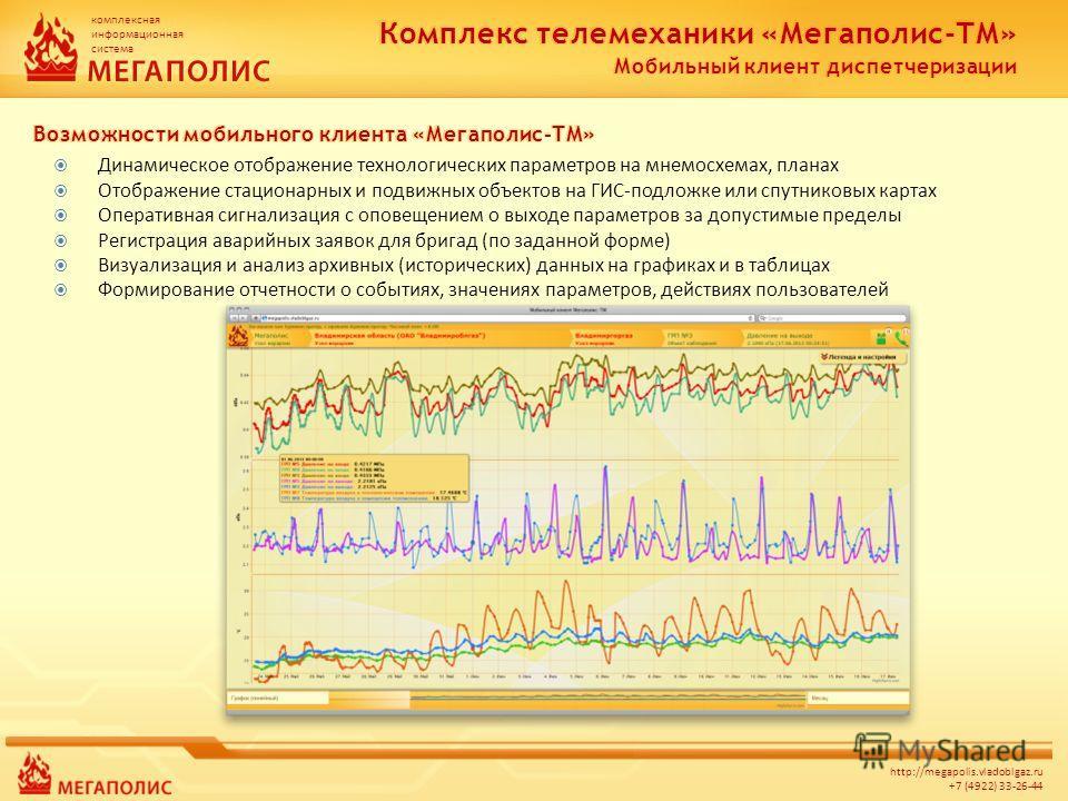 комплексная информационная система http://megapolis.vladoblgaz.ru +7 (4922) 33-26-44 Динамическое отображение технологических параметров на мнемосхемах, планах Отображение стационарных и подвижных объектов на ГИС-подложке или спутниковых картах Опера