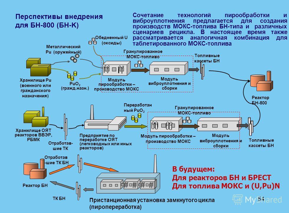 54 Хранилище Pu (военного или гражданского назначения) PuO 2 (гражд.назн.) Металлический Pu (оружейный) Обедненный U (оксиды) Реактор БН-800 Хранилище ОЯТ реакторов ВВЭР, РБМК Отработав- шие ТК Предприятие по переработке ОЯТ (легководных или иных реа