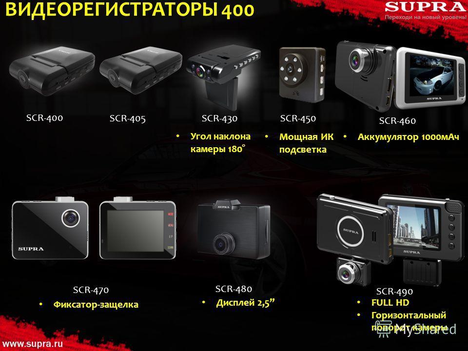 ВИДЕОРЕГИСТРАТОРЫ 400 SCR-400 SCR-405SCR-430 SCR-460 SCR-480 SCR-470 SCR-490 Угол наклона камеры 180° SCR-450 Мощная ИК подсветка Аккумулятор 1000 м Ач Фиксатор-защелка Дисплей 2,5 FULL HD Горизонтальный поворот камеры
