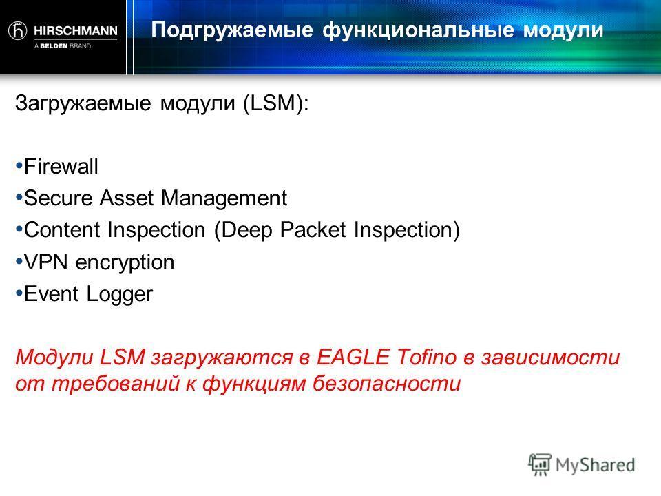 Подгружаемые функциональные модули Загружаемые модули (LSM): Firewall Secure Asset Management Content Inspection (Deep Packet Inspection) VPN encryption Event Logger Модули LSM загружаются в EAGLE Tofino в зависимости от требований к функциям безопас