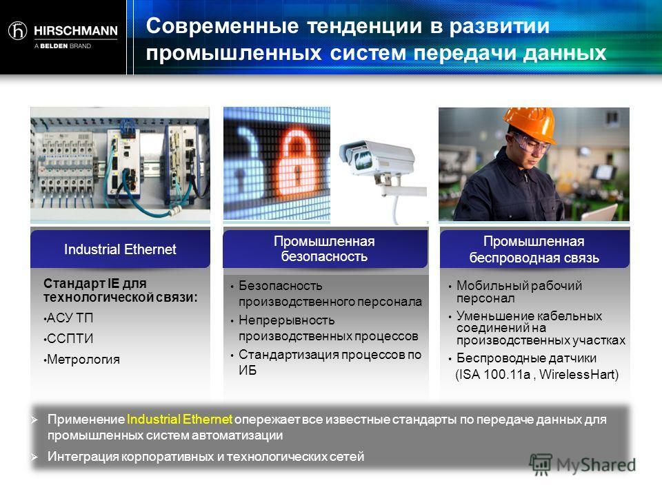 Современные тенденции в развитии промышленных систем передачи данных Industrial Ethernet Промышленная безопасность Промышленная беспроводная связь Стандарт IE для технологической связи: АСУ ТП ССПТИ Метрология Безопасность производственного персонала