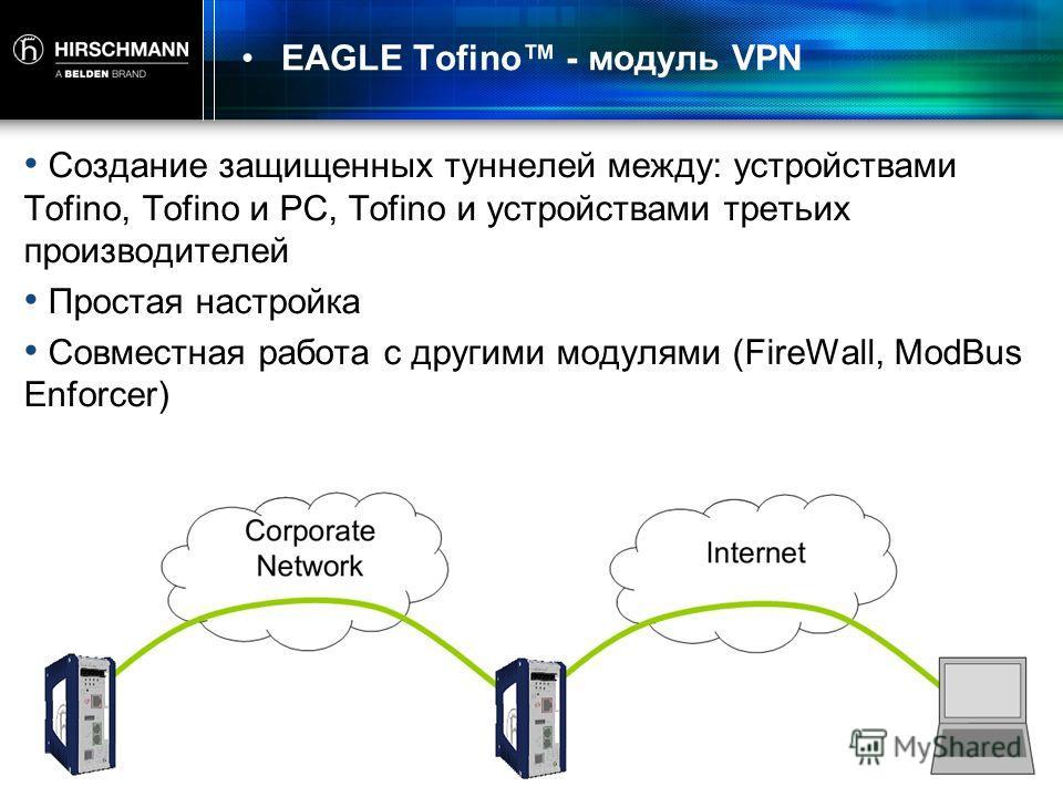 EAGLE Tofino - модуль VPN Создание защищенных туннелей между: устройствами Tofino, Tofino и PC, Tofino и устройствами третьих производителей Простая настройка Совместная работа с другими модулями (FireWall, ModBus Enforcer)