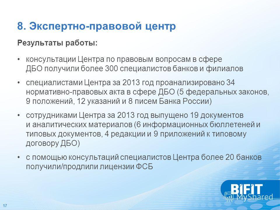 17 Результаты работы: консультации Центра по правовым вопросам в сфере ДБО получили более 300 специалистов банков и филиалов специалистами Центра за 2013 год проанализировано 34 нормативно-правовых акта в сфере ДБО (5 федеральных законов, 9 положений