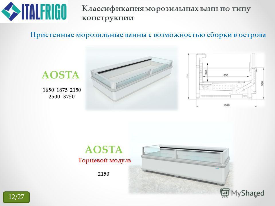 Классификация морозильных ванн по типу конструкции Пристенные морозильные ванны с возможностью сборки в острова 1650 1875 2150 2500 3750 AOSTA Торцевой модуль 2150 12/27