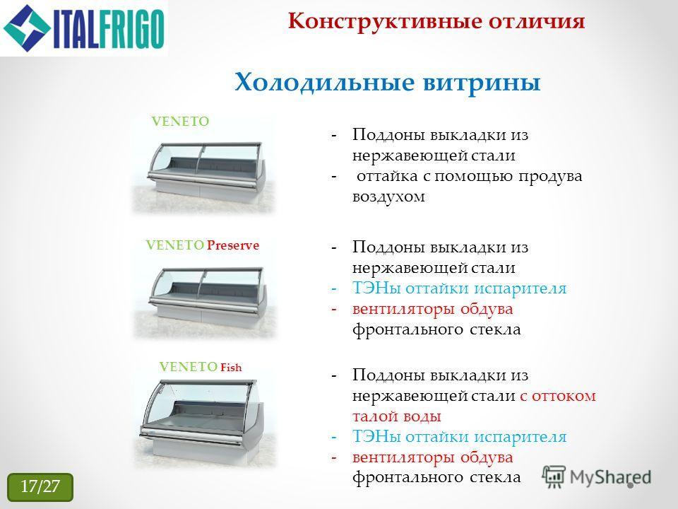 Конструктивные отличия VENETO VENETO Preserve -Поддоны выкладки из нержавеющей стали - оттайка с помощью продува воздухом Холодильные витрины -Поддоны выкладки из нержавеющей стали -ТЭНы оттайки испарителя -вентиляторы обдува фронтального стекла VENE