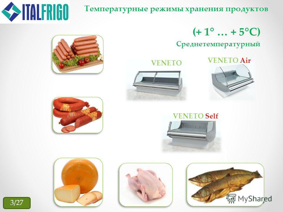 Температурные режимы хранения продуктов (+ 1° … + 5°С) VENETO VENETO Air VENETO Self Среднетемпературный 3/27