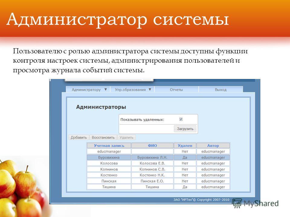 Администратор системы Пользователю с ролью администратора системы доступны функции контроля настроек системы, администрирования пользователей и просмотра журнала событий системы.