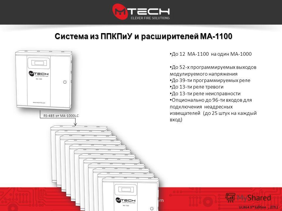 Система из ППКПиУ и расширителей MA-1100 До 12 MA-1100 на один МА-1000 До 52-х программируемых выходов модулируемого напряжения До 39-ти программируемых реле До 13-ти реле тревоги До 13-ти реле неисправности Опционально до 96-ти входов для подключени