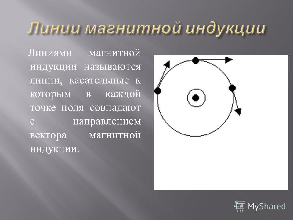 Линиями магнитной индукции называются линии, касательные к которым в каждой точке поля совпадают с направлением вектора магнитной индукции. абс