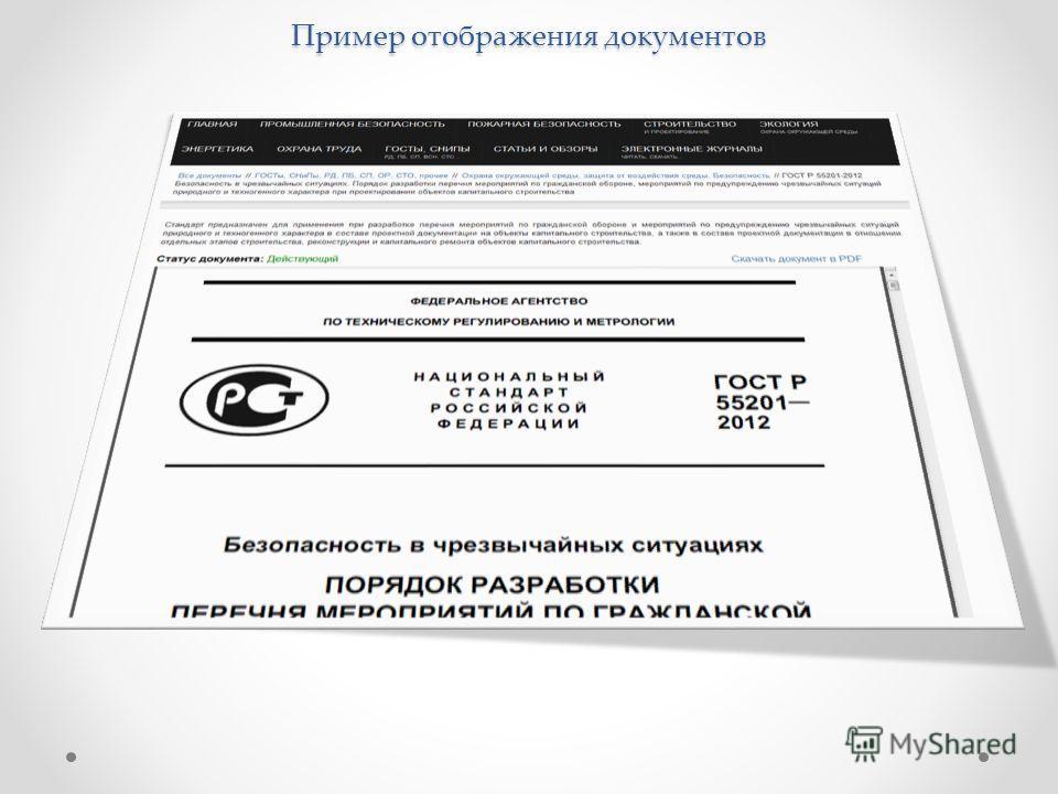 Пример отображения документов