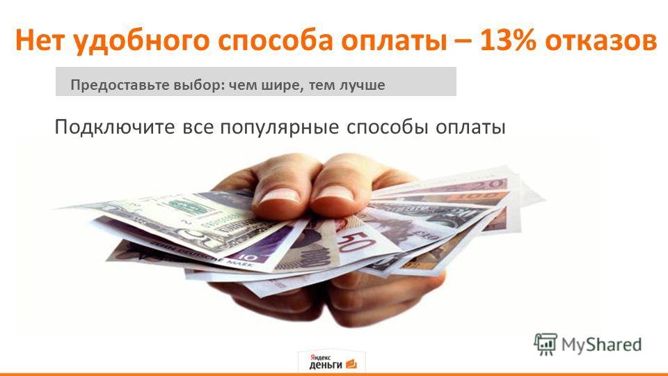 Нет удобного способа оплаты – 13% отказов Подключите все популярные способы оплаты Предоставьте выбор: чем шире, тем лучше