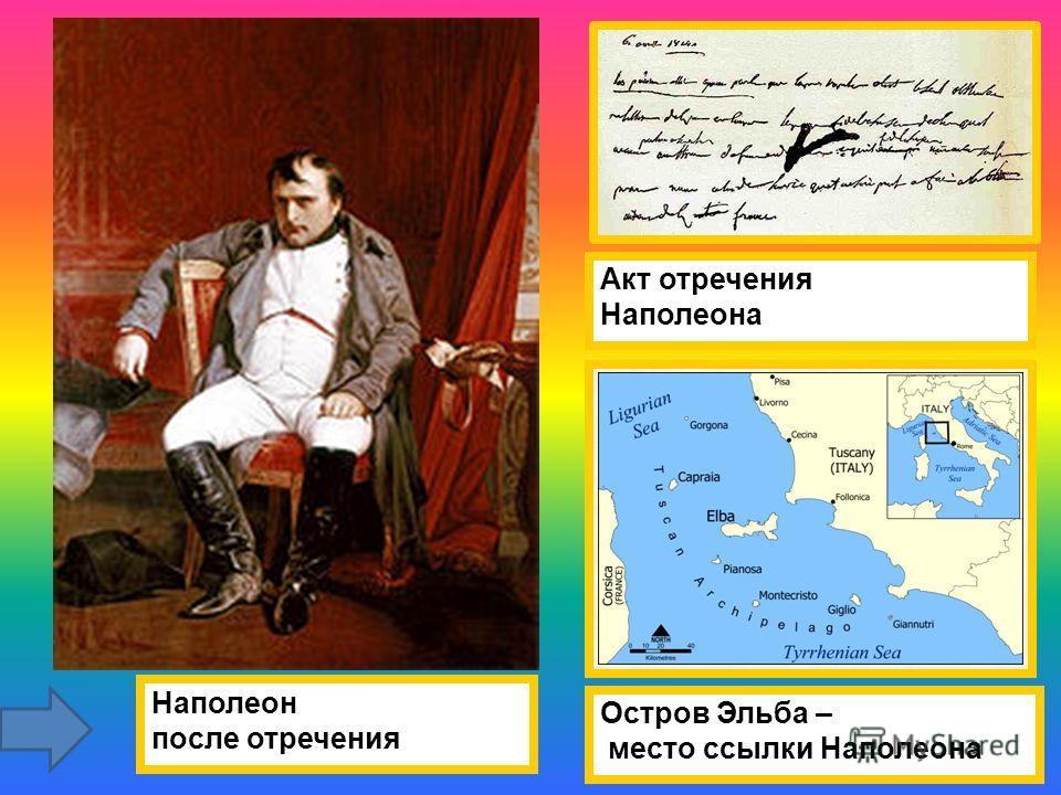 Наполеон после отречения Акт отречения Наполеона Остров Эльба – место ссылки Наполеона