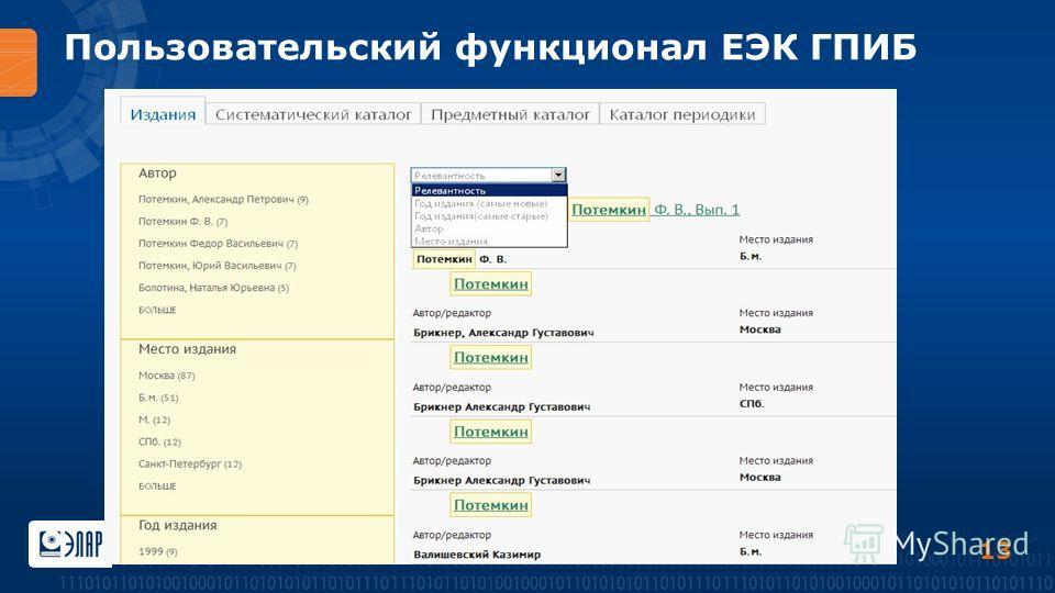 Пользовательский функционал ЕЭК ГПИБ 13