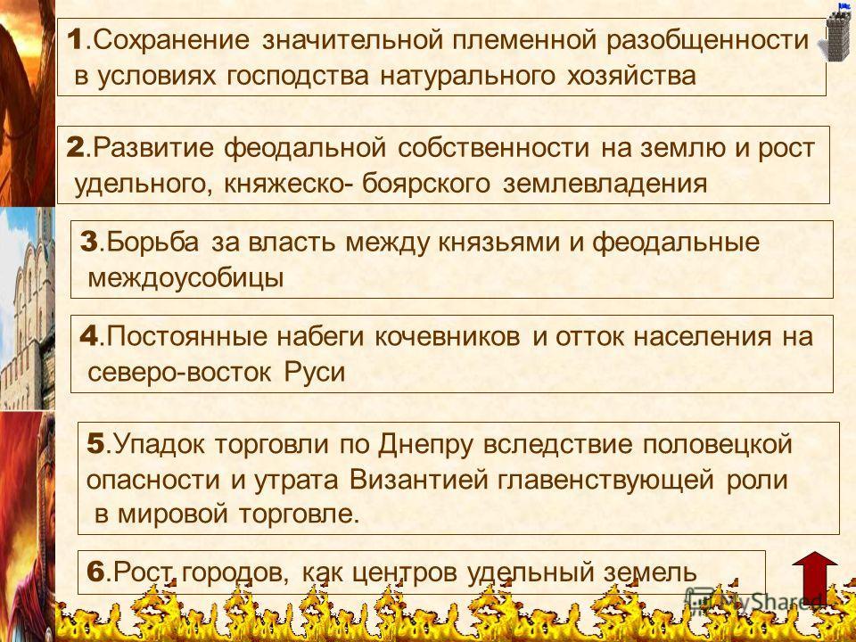 5. Упадок торговли по Днепру вследствие половецкой опасности и утрата Византией главенствующей роли в мировой торговле. 6. Рост городов, как центров удельный земель 4. Постоянные набеги кочевников и отток населения на северо-восток Руси 1. Сохранение