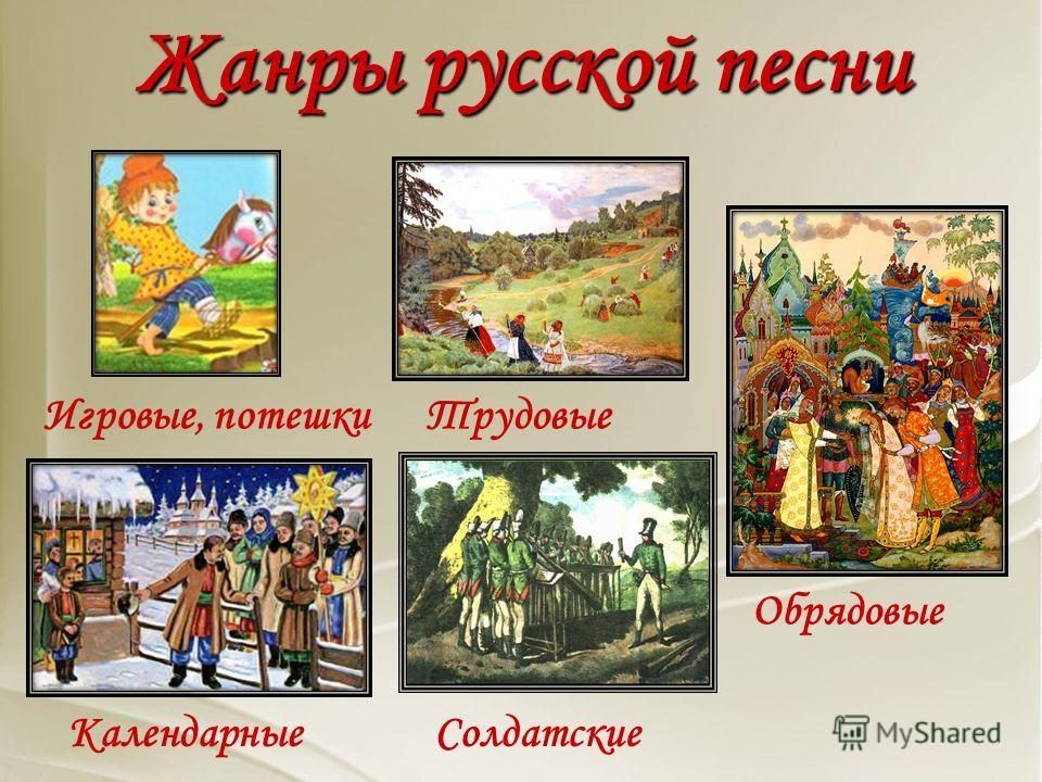 Жанры русской песни Лирические Частушки Хороводные Колыбельные Плясовые