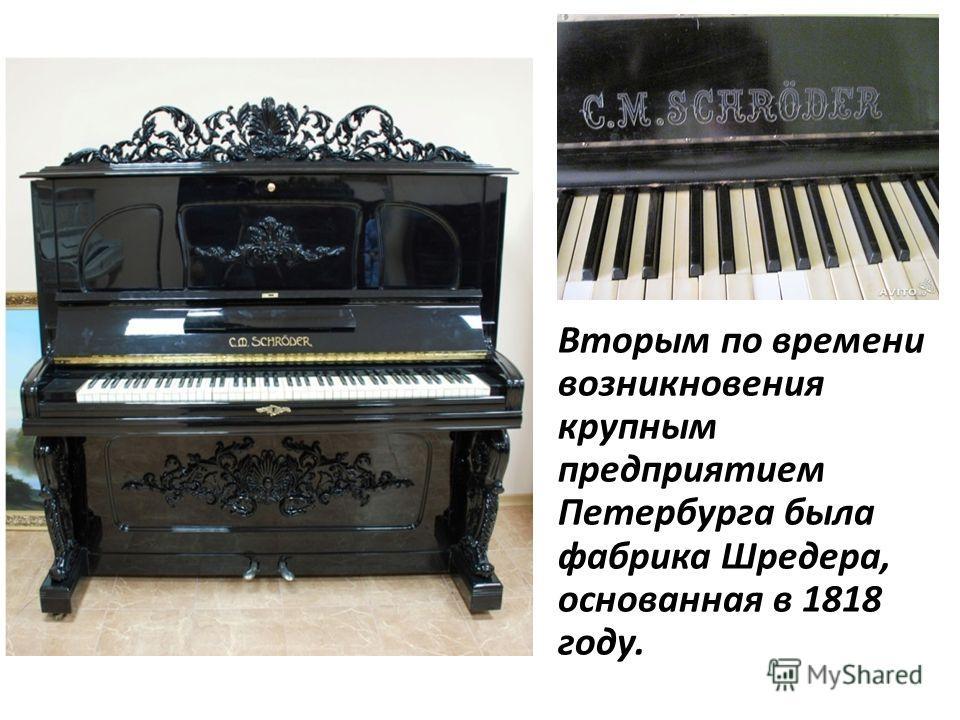 Вторым по времени возникновения крупным предприятием Петербурга была фабрика Шредера, основанная в 1818 году.