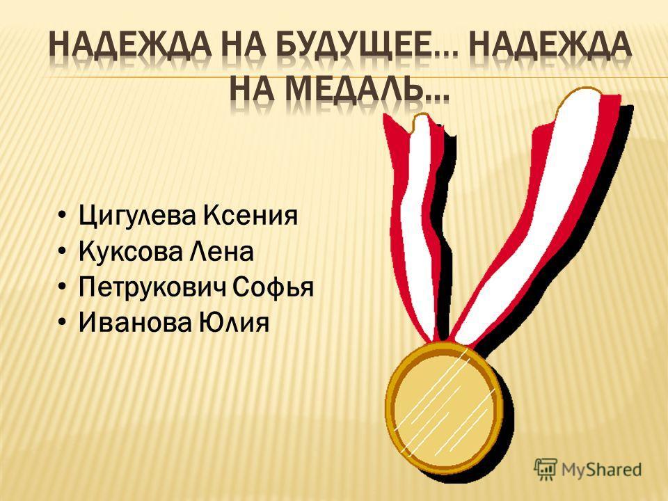 Цигулева Ксения Куксова Лена Петрукович Софья Иванова Юлия