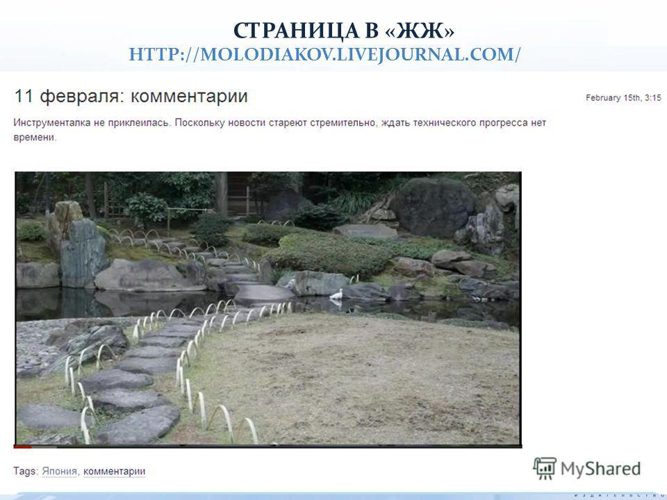 СТРАНИЦА В «ЖЖ» HTTP://MOLODIAKOV.LIVEJOURNAL.COM/