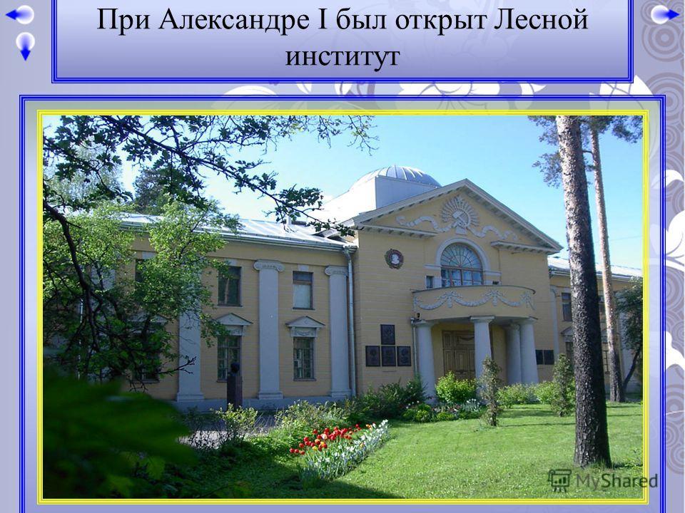 При Александре I был открыт Лесной институт