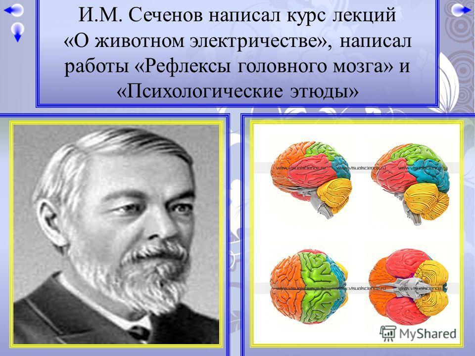 И.М. Сеченов написал курс лекций «О животном электричестве», написал работы «Рефлексы головного мозга» и «Психологические этюды»