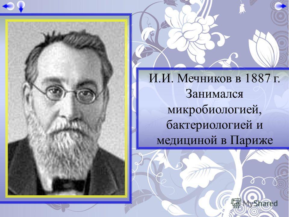 И.И. Мечников в 1887 г. Занимался микробиологией, бактериологией и медициной в Париже