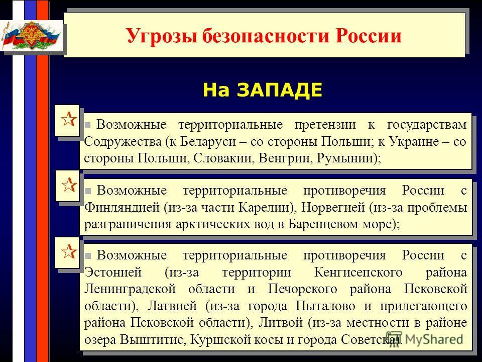 Угрозы безопасности России На ЗАПАДЕ Возможные территориальные претензии к государствам Содружества (к Беларуси – со стороны Польши; к Украине – со стороны Польши, Словакии, Венгрии, Румынии); Возможные территориальные противоречия России с Финляндие