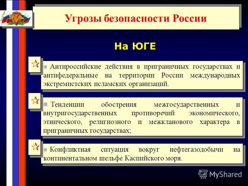 Угрозы безопасности России На ЮГЕ Тенденции обострения межгосударственных и внутригосударственных противоречий экономического, этнического, религиозного и межкланового характера в приграничных государствах; Антироссийские действия в приграничных госу