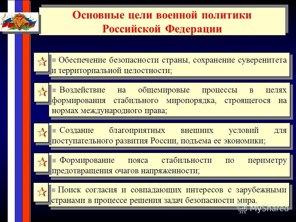 Основные цели военной политики Российской Федерации Основные цели военной политики Российской Федерации Обеспечение безопасности страны, сохранение суверенитета и территориальной целостности; Воздействие на общемировые процессы в целях формирования с