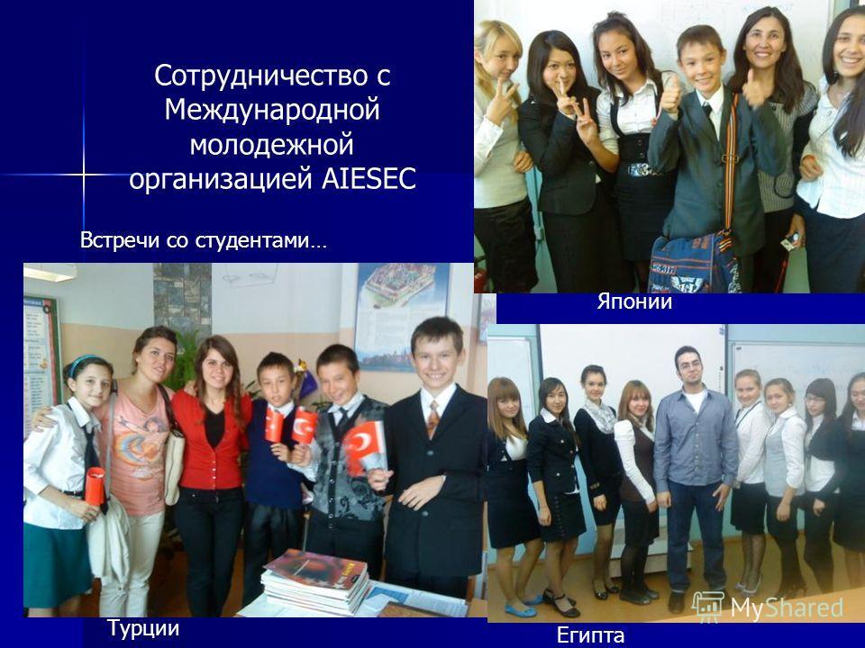 Сотрудничество с Международной молодежной организацией AIESEC Встречи со студентами… Японии Турции Египта