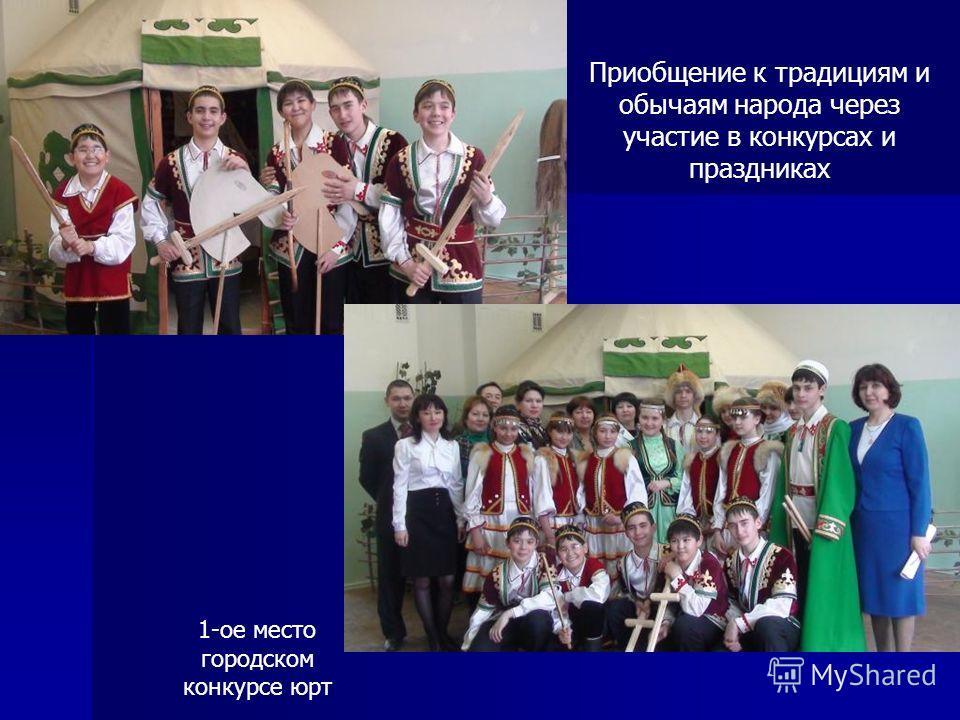 Приобщение к традициям и обычаям народа через участие в конкурсах и праздниках 1-ое место городском конкурсе юрт
