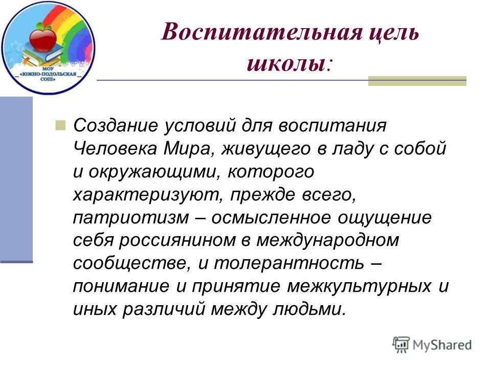 Воспитательная цель школы: Создание условий для воспитания Человека Мира, живущего в ладу с собой и окружающими, которого характеризуют, прежде всего, патриотизм – осмысленное ощущение себя россиянином в международном сообществе, и толерантность – по