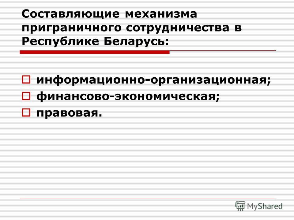 Составляющие механизма приграничного сотрудничества в Республике Беларусь: информационно-организационная; финансово-экономическая; правовая.