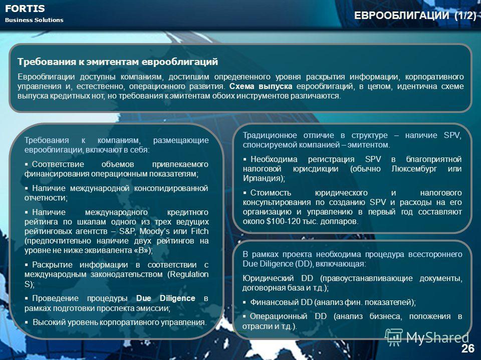 FORTIS Business Solutions ЕВРООБЛИГАЦИИ (1/2) 26 Требования к эмитентам еврооблигаций Еврооблигации доступны компаниям, достигшим определенного уровня раскрытия информации, корпоративного управления и, естественно, операционного развития. Схема выпус